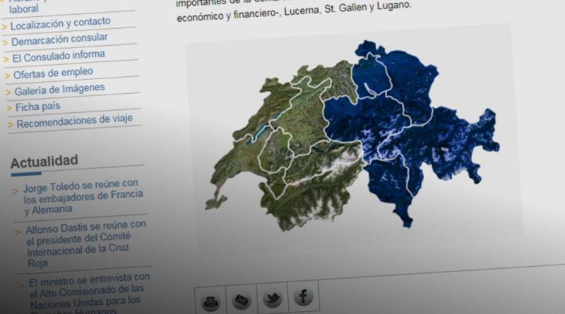 Mapa de Suiza del Consulado de Zúrich